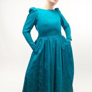 Vintage Blue Semi-Formal gown Dress Backless 70 80